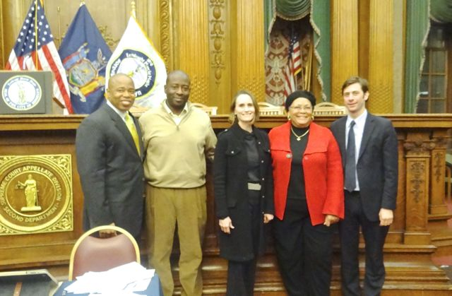 (l to r) Brooklyn Borough President Eric Adams with CB2 board members Lenue Singletary, Theresa Ward and Shirley A. McRae, and City Councilmember Stephen Levin