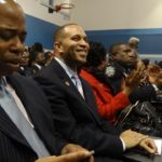 Congressman Hakeem Jeffries, next to Brooklyn Borough President Eric Adams at the Inauguration Ceremony of City Councilmember Laurie Cumbo (D-35)