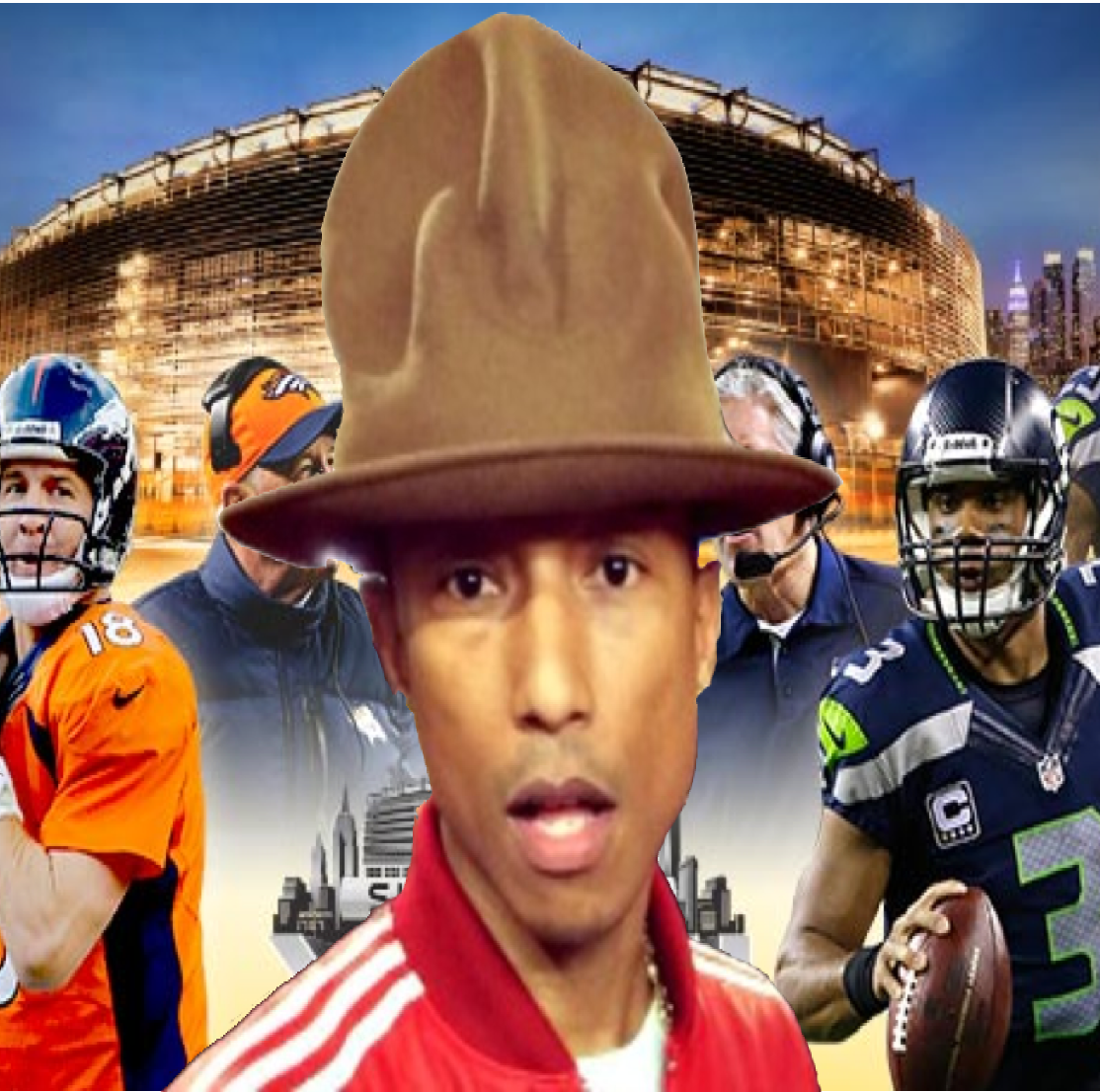 Pharrell's hat might be bigger than the Superbowl