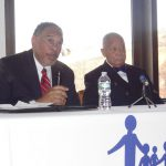 """John Flateau (l) moderates a conversation and book signing with former NYC Mayor David Dinkins at a book signing for his memoirs, """"A Mayor's Life"""""""