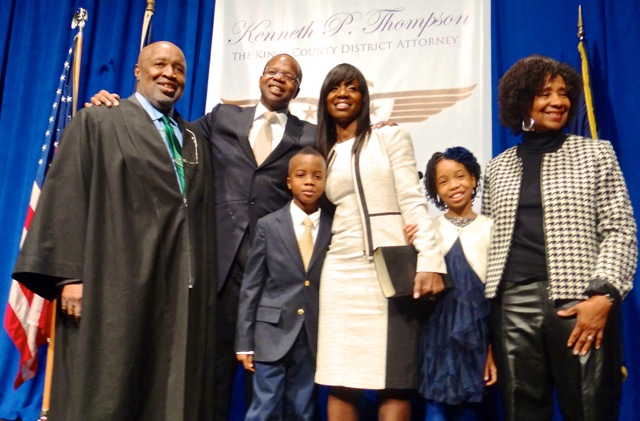 Kenneth Thompson (second from left) at his inaugural ceremony as Kings County District Attorney with (l to r) the Hon. Sterling Johnson, Jr., his son Kenny Thompson, his wife Lu-Shawn M. Benbow-Thompson, his daughter Kennedy Thompson and his mother Mrs. Thompson