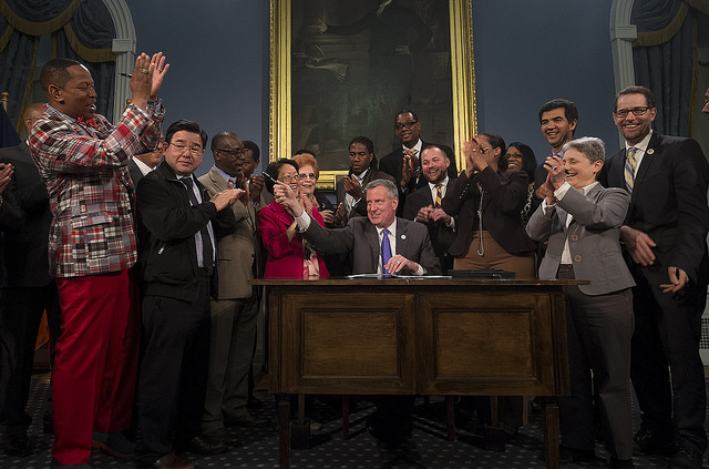 Mayor de Blasio Signs SCRIE Legislation into Law Photo: William Alatriste for the New York City Council