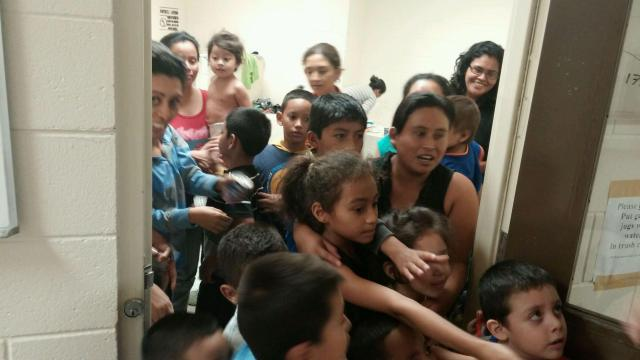 The office of Texas Congressman Henry Cuellar released this photo showing crowding at a Customs and Border Protection detention facility at an undisclosed location in South Texas.  It was taken in late May or early June of 2014.