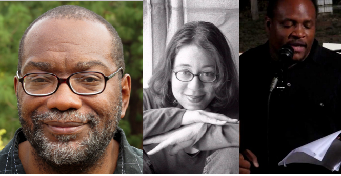 (l to r):  Poets Fred Moten, Tara Betts and Mel Cooke