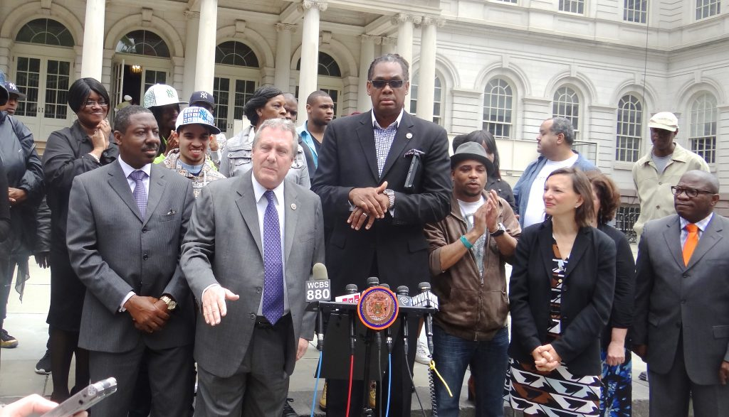City Councilmembers Robert Cornegy, Jr. and Daniel Dromm announce the results of the first DOE report required by Avonte's Law