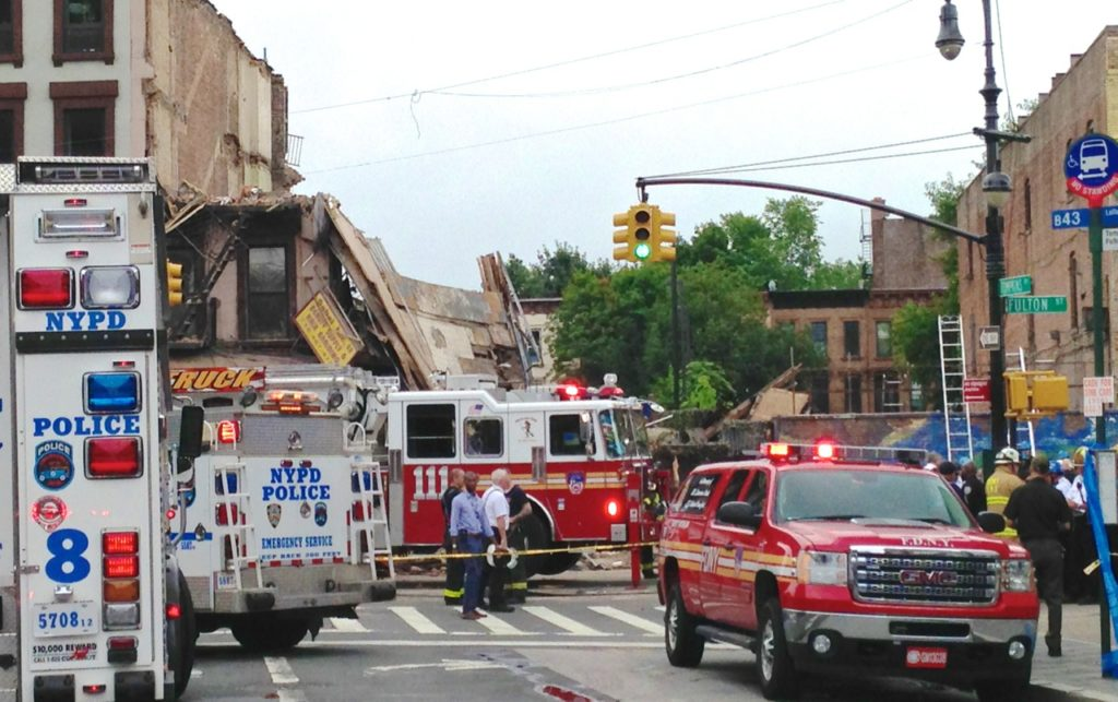 Building collapses suddenly at Fulton St and Tompkins Ave in Bed-Stuy