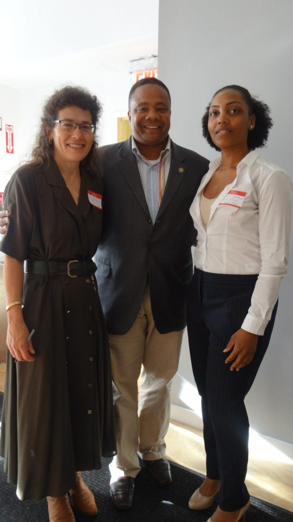 (l to r) Mary-Powel Thomas, director of Healthy Start Brooklyn; State Sen. Jesse Hamilton; Brandi Howard, director of The Community Action Network of Healthy Start Brooklyn