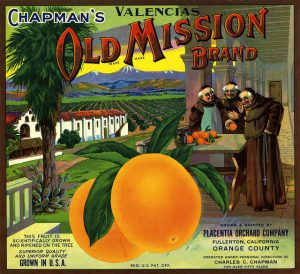 A wonderful old fruit shipping crate label from Chapman's Old Mission Brand Oranges in California