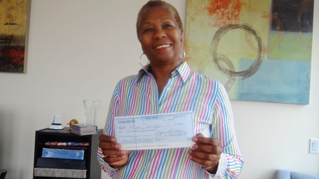 Myra Dunlop of Bed-Stuy, winner of the $100 survey prize!