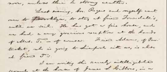 Letter written by famous abolitionist William Lloyd Garrison where he mentions the Truesdells