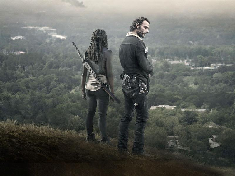 """In the most recent episode of """"The Walking Dead,"""" Rick Grimes (Andrew Lincoln) and Michonne (Danai Gurrira) have started a """"love thang."""""""