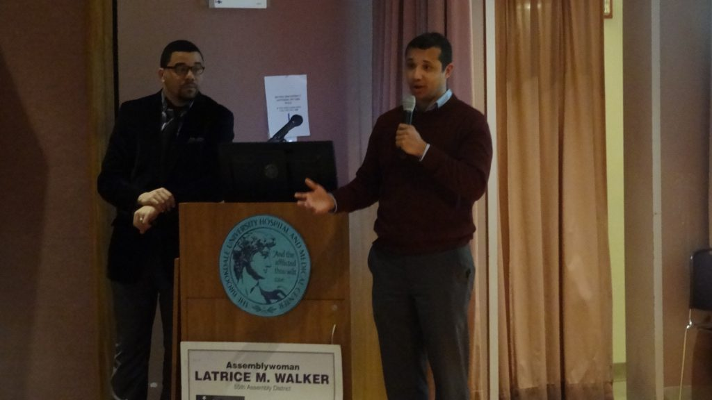 """Representatives from BlocPower Present at the community advisory board meeting at Brookdale Hospital, hosted by Assemblywoman Latrice Walker, where the topic was harnessing """"Renewable Energy."""""""
