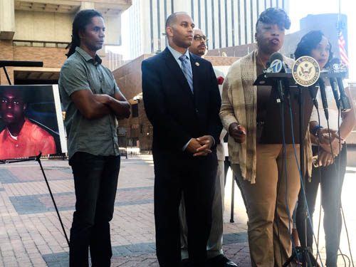 Gwen Carr speaks at press conference, protesting pay increase for the officer that killed her unarmed son, Eric Garner, while being arrested