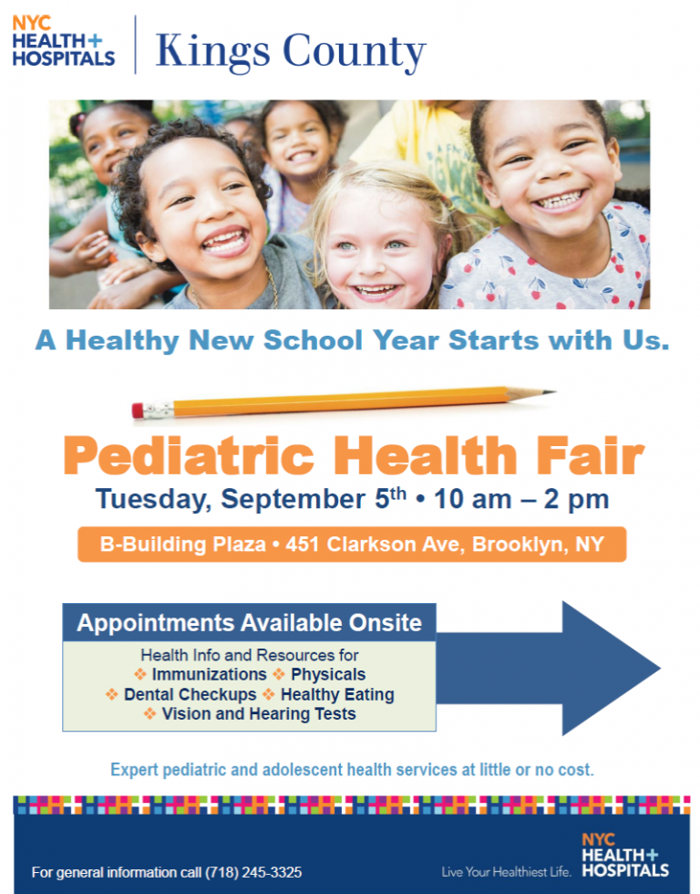 Kings county hospital hosted free back to school health fair the back to school bk reader free health clinic health fair pediatric health altavistaventures Image collections